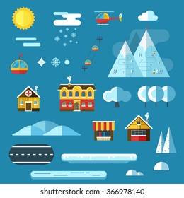 Winter resort creator collection. Abstract landscape constructor icons set. Signs for map, game, texture. Mountain hotel, chalet, funicular, river, sun design elements.