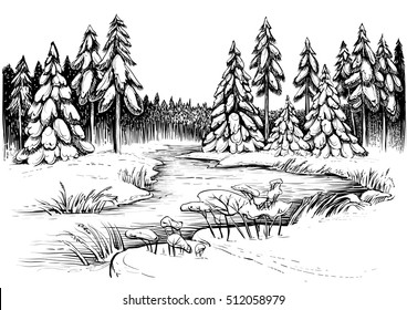 Winter river under ice and forest, landscape sketch. Black and white vector illustration of snowy firs, pines and coniferous wood with river, reed and cattail. Realistic drawing. Linocut art style.