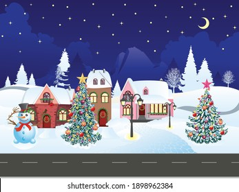 Winter road to the snowy village landscape, Christmas greeting.