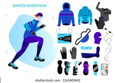 Winter running big set with thermal clothes, hood, full zip jacket, hat, protection gloves, sneakers. Young athletic man doing jogging. Vector illustration in flat design style