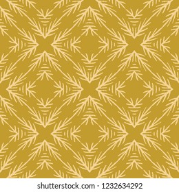 Winter Rustic Fir Branch Linocut Texture Seamless Vector Pattern, Sketchy Quilt Block Print Style for Xmas Home Decor, Christmas Wallpaper, Nordic Textiles, Yule Cards, Festive Backdrop Mustard Yellow