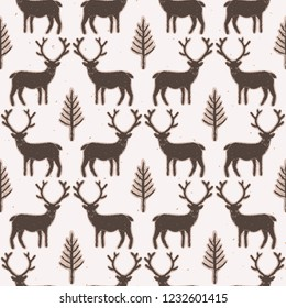 Winter Rustic Tree and Reindeer Lino Cut Texture Seamless Vector Pattern, Pine, Deer Silhouette Forest Block Print Style for Xmas Home Decor, Christmas Wallpaper, Nordic Festive Holiday. Brown Ecru