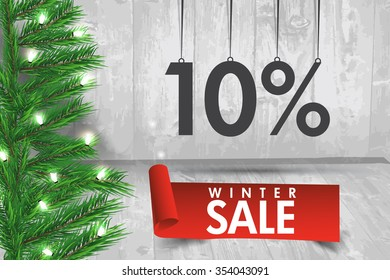 Winter sale 10 percent. Winter sale background with red ribbon banner and snow. Sale. Winter sale. Christmas sale. New year sale. Vector illustration