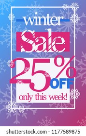 Winter sale 25% off discount vector flyer template. Snowflakes and sale text on cold blue-red gradient background