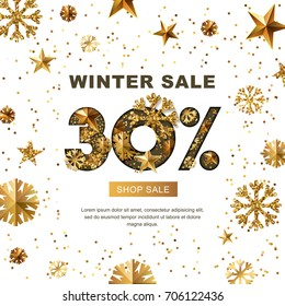 Winter sale 30 percent off, vector banner with 3d gold stars and snowflakes. Paper cut style 30 discount, golden white background. Layout for holiday poster, labels, flyers and shopping.