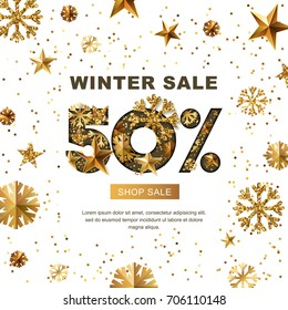 Winter sale 50 percent off, vector banner with 3d gold stars and snowflakes. Paper cut style 50% discount, golden white background. Layout for holiday poster, labels, flyers and shopping.
