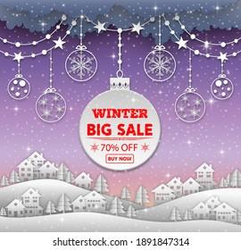 Winter sale background banner. vector