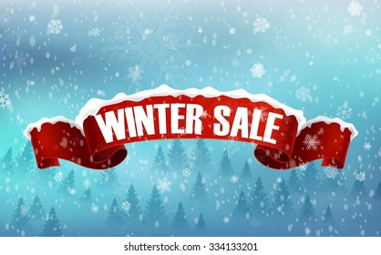 Winter sale background with red realistic ribbon banner and snow. vector