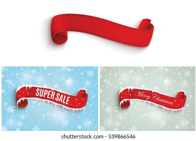 Winter sale background with red realistic ribbon banner and snow.