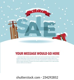 Winter sale background with snow EPS 10 vector stock illustration