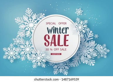 Winter sale  banner design with white snowflakes . paper art style.