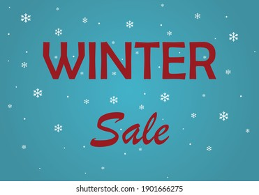 Winter sale banner design with white snowflakes. Poster for discount.  Winter sale social network banner. Business Poster. Blue background