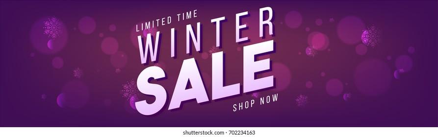 Winter Sale Banner on purple background.