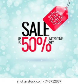 Winter sale banner. Original poster for discount. Bright abstract background with text. Vector illustration.