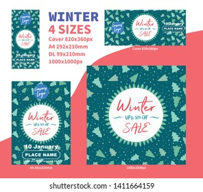 Winter Sale Banner Pack background concept DL a4 cover Flyer