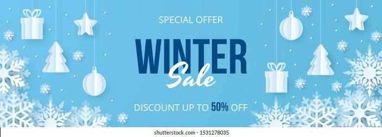 Winter sale banner. Paper cut vector. Vector Illustration.