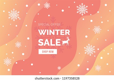 Winter sale banner vector illustration