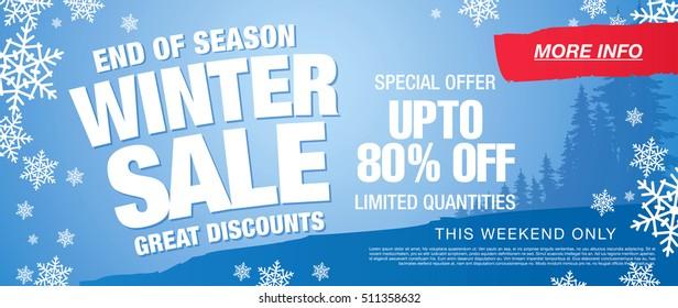 Winter sale banner. Vector illustration