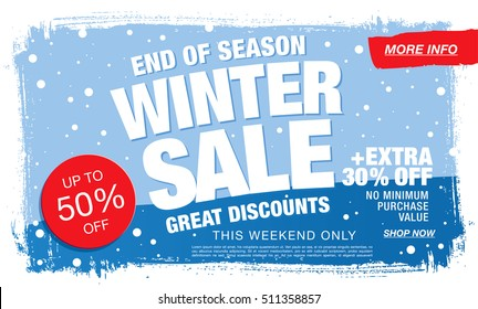Winter sale banner. Vector illustration