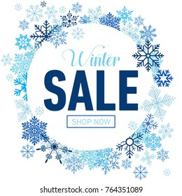 Winter sale card with blue snowflakes