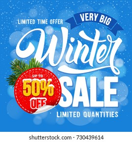 Winter Sale. Design of trendy and bright advertising layout with calligraphic inscription and sticker with discount percentage. Vector illustration.