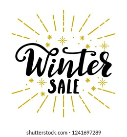 Winter sale hand drawn lettering message. Vector isolated hand written lettering winter sale. Black and golden inscription for shops, season sale, online shops.