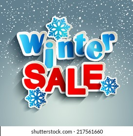 Winter sale inscription with snowflakes in paper style against snowfall, vector.