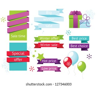 Winter sale labels set with gifts, snowflakes and balloons