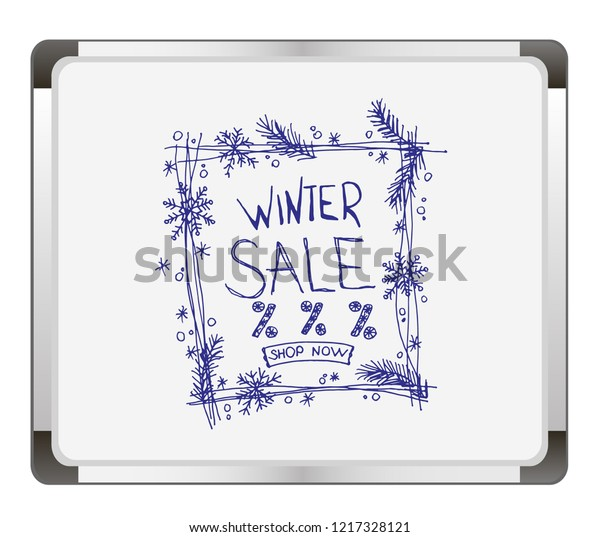 Picture A Christmas Flipchart.Winter Sale On Flip Chart Background Stock Vector Royalty