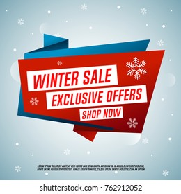 Winter sale origami banner. Exclusive offers. Shop now.