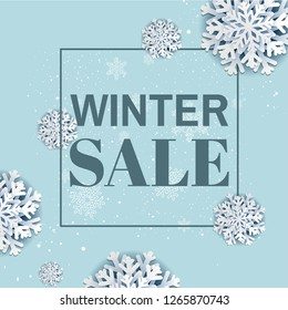 Winter Sale Poster With Gradient Mesh, Vector Illustration