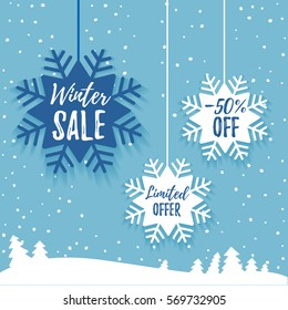 Winter sale promo poster ads. Flat paper snowflake tag with long shadow and winter forest on the blue background. Web banner for e-commerce, on-line shop, fashion & beauty shop, store. Vector