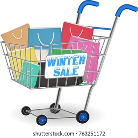 winter sale shopping paper bag on cart