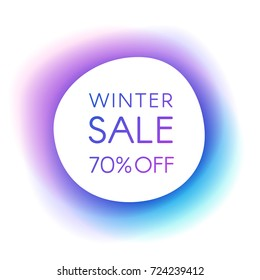 Winter sale smooth paper banner on a beautiful background with a purple blue halo. Creative design templates