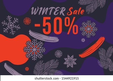 Winter sale, snowflakes on blue background.