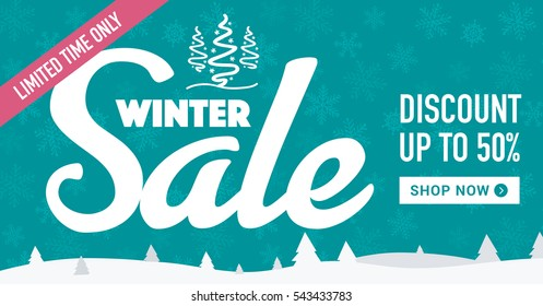 Winter sale social network banner. Sea blue background, white snowflakes