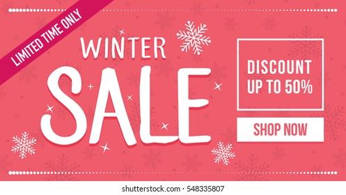 Winter sale social network banner. Red background, snowflakes