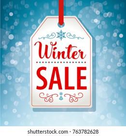 Winter Sale Tag Label on Blue Background - Vector illustration