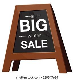 Winter sale  typography on black board. Eps 10.
