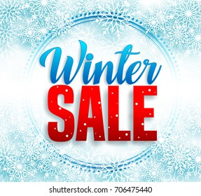 Winter sale vector banner with red sale text and snow flakes in white background for retail seasonal promotion. Vector illustration.