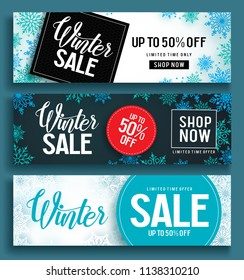 Winter sale vector banner set with sale text and snow background template in different colors for winter season discount promotion. Vector illustration.
