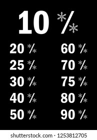Winter sale vector with flakes percent, 10,20,25,30...atc icon .