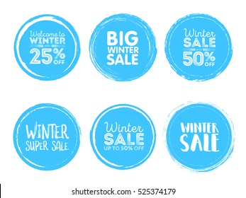 Winter sale. Vector Grunge Circle. Element for your Design. Rubber Stamp Texture. Distress Border Frame.