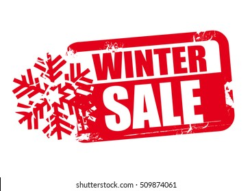 winter sale word red stamp text on white background