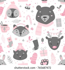 Winter scandinavian pattern with cute animals for christmas packaging design