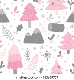 Winter scandinavian seamless pattern with forest for christmas packaging design