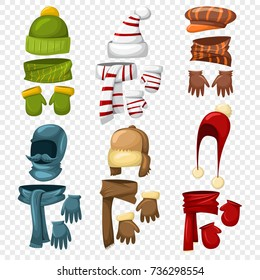 Winter scarf, hats and caps, gloves and mittens set for men and women. Vector cartoon icons isolated on a transparent background. Clothes for cold weather. Knitted accessories.