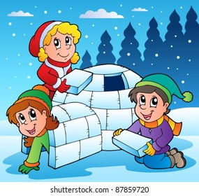 Winter scene with kids 1 - vector illustration.