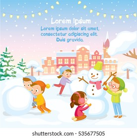 Winter scene with kids making snowman and snowy landscape