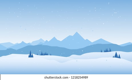 Winter scene with mountains landscape. Christmas background, Vector illustration.
